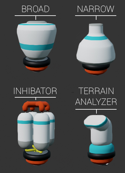 The first 4 Augments available in Astroneer